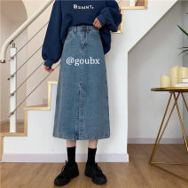 skirt Autumn 2020 S,M,L,XL Blue, black Mid length dress commute High waist Denim skirt Solid color Type A 18-24 years old 71% (inclusive) - 80% (inclusive) Denim pocket Korean version
