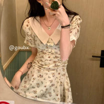 Dress Spring 2021 Apricot, black S,M,L Mid length dress singleton  Short sleeve commute Polo collar High waist Broken flowers Socket A-line skirt routine Others 18-24 years old Type A Korean version printing 9883# other other