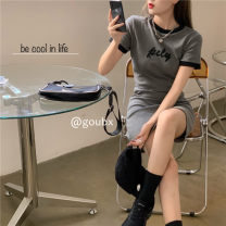 Dress Spring 2021 grey Average size Short skirt singleton  Short sleeve commute Crew neck High waist letter Socket One pace skirt routine Others 18-24 years old Type H Korean version other other