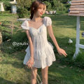 Dress Summer 2021 white Average size Short skirt singleton  Short sleeve commute square neck High waist Solid color Socket A-line skirt other Others 18-24 years old Type A Korean version other other
