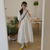 Dress Spring 2021 Apricot, white Average size Mid length dress singleton  Short sleeve commute Crew neck Loose waist Solid color Socket A-line skirt other Others 18-24 years old Type A Korean version Embroidery other other