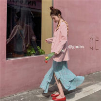 Dress Autumn 2020 S. M, average size longuette Two piece set Sleeveless commute V-neck middle-waisted lattice Socket Irregular skirt other camisole 18-24 years old Type A Korean version Asymmetry other