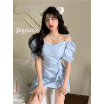 Dress Summer 2021 blue S, M Short skirt singleton  Short sleeve commute square neck High waist Solid color Socket Irregular skirt routine Others 18-24 years old Type A Korean version other other