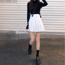 skirt Spring 2021 S, M Dark grey, white, black Short skirt commute High waist A-line skirt Solid color Type A 18-24 years old other Korean version