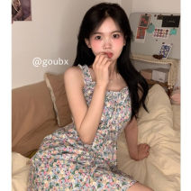 Dress Summer 2021 Picture color Average size Short skirt singleton  Sleeveless commute V-neck High waist Broken flowers Socket A-line skirt routine camisole 18-24 years old Type A Korean version other other