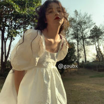 Dress Summer 2021 White pompous skirt Average size Short skirt singleton  Short sleeve commute square neck High waist Solid color Socket A-line skirt puff sleeve Others 18-24 years old Type A Korean version six thousand three hundred and two # 31% (inclusive) - 50% (inclusive) other other
