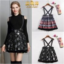 skirt Spring 2021 S, M Sapphire blue Middle-skirt Versatile High waist Strapless skirt Decor Type A brocade Haomize / haomingze polyester fiber