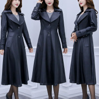 Women's large Spring 2020 black XL [recommended 110-135 kg], 2XL [recommended 138-150 kg], 3XL [recommended 155-170 kg], 4XL [recommended 175-190 kg], 5XL [recommended 192-205 kg], 6xl [recommended more than 200 kg] leather clothing singleton  commute moderate Long sleeves Solid color Ol style PU