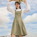 Dress Spring 2021 S M L XL Mid length dress singleton  Sleeveless Sweet square neck High waist lattice zipper A-line skirt 25-29 years old Type A Inman  180_ TM3334a 81% (inclusive) - 90% (inclusive) polyester fiber college Same model in shopping mall (sold online and offline)