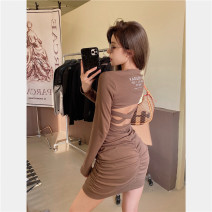 Dress Winter 2020 Light brown, black Average size Hollowed out, open back, printed