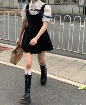 Dress Summer 2021 White shirt 11128, black vest skirt 11131 Average size Short skirt Solid color Pleated skirt Type A