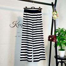 Casual pants Black and white stripes S. M, l, XL, 2XL, 3XL, 4XL, strict quality, please rest assured to buy Spring of 2019 Ninth pants Wide leg pants low-waisted Versatile routine Real shot Other / other
