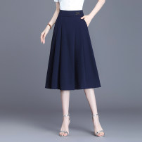 skirt Spring 2021 M,L,XL,2XL,3XL,4XL Black, blue Mid length dress Versatile High waist A-line skirt Solid color Type A 25-29 years old 91% (inclusive) - 95% (inclusive) other polyester fiber Pockets, stitching