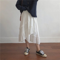 skirt Spring 2021 Average size White, black Mid length dress commute High waist Irregular Solid color Type A 18-24 years old More than 95% Miss muzi cotton Splicing Korean version