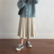 skirt Spring 2021 Average size Black, gray, apricot, brown Mid length dress commute High waist Pleated skirt Solid color Type A 18-24 years old Miss muzi Simplicity
