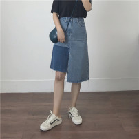 skirt Summer of 2018 S M L blue commute Irregular Solid color Type A 18-24 years old cotton Pocket button zipper panel Korean version