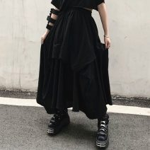 skirt Summer 2020 Average size black Mid length dress street Irregular Solid color 18-24 years old 31% (inclusive) - 50% (inclusive) other polyester fiber