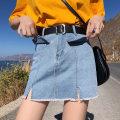 skirt Summer of 2019 S,M,L,XL,2XL,3XL,4XL Light blue [belt], dark blue [belt], hairy girl white Short skirt Versatile Natural waist skirt Solid color Type A 18-24 years old 71% (inclusive) - 80% (inclusive) brocade cotton Pocket, button, zipper
