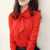 shirt White [high quality Chiffon], red [high quality Chiffon] S [80-90 catties], m [90-100 catties], l [101-110 catties], XL [110-120 catties], 2XL [120-125 catties], 3XL [125-135 catties] Autumn of 2018 polyester fiber 30% and below Long sleeves commute Regular other Socket routine Solid color bow