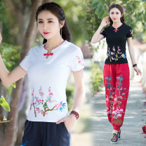 T-shirt Black, white, red, lake blue M,L,XL,2XL,3XL,4XL,5XL,6XL Summer of 2019 Short sleeve stand collar Self cultivation Regular routine commute cotton 96% and above literature literature Plants and flowers, color matching, splicing Embroidery