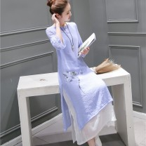 Dress Summer 2020 Sky blue, orange, white S,M,L,XL longuette Fake two pieces three quarter sleeve commute Crew neck Loose waist Big flower Socket A-line skirt routine Type A Other / other ethnic style Stitching, printing 31% (inclusive) - 50% (inclusive) other hemp