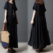 Dress Summer 2020 black M [100-115 kg], l [116-130 kg], XL [131-145 kg], XXL [146-160 kg] longuette singleton  Short sleeve commute Crew neck other Socket Other / other other