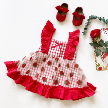 Dress female Other / other 90cm,100cm,110cm,120cm,130cm,140cm Cotton 95% other 5% summer princess Skirt / vest lattice cotton Splicing style 18 months, 2 years old, 3 years old, 4 years old, 5 years old, 6 years old, 7 years old, 8 years old, 9 years old, 10 years old, 11 years old, 12 years old