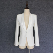 suit Spring 2021 White, black S,M,L,XL Long sleeves routine Self cultivation Green fruit collar A button street routine Solid color Pocket, button, satin collar
