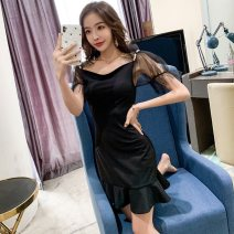 Dress Summer of 2019 black S M L Short skirt singleton  Short sleeve commute One word collar High waist Solid color zipper One pace skirt other Others 25-29 years old T-type Misty rain like a poem Korean version Lace mesh zipper More than 95% other polyester fiber Pure e-commerce (online only)