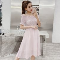 Dress Summer of 2019 Pink Red Black S M L XL Middle-skirt singleton  Short sleeve commute One word collar High waist Solid color Socket A-line skirt other Others 25-29 years old Type A Misty rain like a poem Korean version Ruffle stitching More than 95% other polyester fiber
