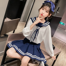 suit Other / other White top + Navy skirt, Navy Top + white skirt 110cm,120cm,130cm,140cm,150cm,160cm,170cm female spring and autumn Long sleeve + skirt There are models in the real shooting Socket Solid color cotton Polyester 100% Chinese Mainland