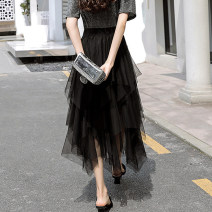 skirt Spring 2021 80cm, 90cm longer (more than 165cm recommended) Black, blue grey Mid length dress commute High waist Irregular Solid color Type A 30-34 years old 6-2 More than 95% Lace polyester fiber Mesh, stitching, lace Korean version