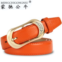 Belt / belt / chain top layer leather female belt Versatile Single loop Youth, middle age and old age Pin buckle Diamond inlay soft surface 2.4cm alloy