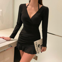 one piece  Girl attachment M,L,XL black Skirt one piece With chest pad without steel support other female Long sleeves Casual swimsuit