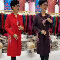 Middle aged and old women's wear Winter 2020, autumn 2020 Black, red, Burgundy, purple L (suitable for 90-120 kg), XL (suitable for 120-140 kg), 2XL (suitable for 140-160 kg), 3XL (suitable for 160-190 kg), no pilling, no shrinkage, no fading, hand stitching and embroidery fashion Knitwear / cardigan