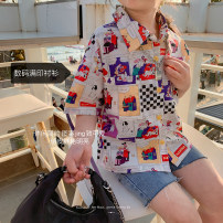 shirt White (spot), white (presale 4.6) Other / other female 80, 90, 100, 110, 120, 130, 140, 150 summer Short sleeve leisure time lattice other Lapel and pointed collar
