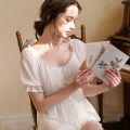 Pajamas / housewear set female Other / other S,M,L,XL White nightdress, pink nightdress, white pajamas suit, pink pajamas suit cotton Short sleeve Sweet Living clothes summer Thin money square neck Solid color shorts Socket youth 2 pieces rubber string 81% (inclusive) - 95% (inclusive) Mesh + Cotton