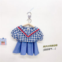 suit Tong Kexing female summer Korean version Short sleeve + skirt 2 pieces Thin money No model Condom lattice Pure cotton (100% cotton content) children Travel Class B Cotton 100% 18 months, 2 years old, 3 years old, 4 years old, 5 years old, 6 years old, 12 years old Chinese Mainland blue