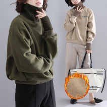 Women's large Winter of 2019, autumn of 2019 Ka apricot, western green One size fits all Sweater / sweater singleton  commute easy thickening Socket Long sleeves Korean version High collar routine polyester fiber Collage raglan sleeve Other / other 71% (inclusive) - 80% (inclusive)