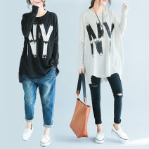 Women's large Autumn of 2019 Gray, white, black One size fits all [recommended 100-250 kg] T-shirt singleton  commute easy thin Socket Long sleeves letter Korean version Crew neck Medium length polyester fiber printing and dyeing routine Other / other 25-29 years old 51% (inclusive) - 70% (inclusive)