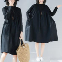 Dress Autumn 2020 black M [suggested 90-105 kg], l [suggested 105-120 kg], XL [suggested 120-135 kg], XXL [suggested 135-150 kg], 3XL [suggested 150-170 kg], 4XL [suggested 170-190 kg] Mid length dress singleton  Long sleeves commute Crew neck Loose waist Solid color A-line skirt routine Type A