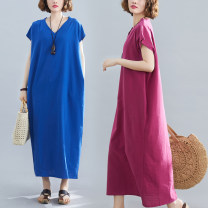 Women's large Summer 2020 Sky blue, rose red, black One size fits all [110-220 kg recommended] Dress singleton  commute easy moderate Socket Short sleeve Solid color Retro V-neck Medium length routine Other / other pocket longuette