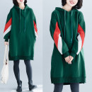 Women's large Winter 2020, autumn 2020 green One size fits all Sweater / sweater singleton  commute easy thickening Socket Long sleeves literature Hood Medium length cotton Pull buckle