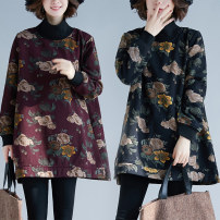 Women's large Winter 2020, autumn 2020 black Sweater / sweater singleton  commute easy thickening Socket Long sleeves Plants and flowers literature High collar Medium length cotton printing and dyeing routine Other / other 25-29 years old 51% (inclusive) - 70% (inclusive) Middle-skirt