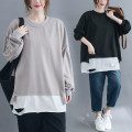 Women's large Spring 2021 Gray, black L [recommended 100-130 kg], XL [recommended 130-160 kg], XXL [recommended 160-200 kg] Sweater / sweater Fake two pieces commute easy moderate Socket Long sleeves Solid color literature Crew neck Medium length cotton routine Other / other