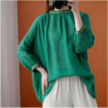 Women's large Autumn 2020 green Large size average size [100-200kg recommended] shirt singleton  commute easy moderate Socket Nine point sleeve literature routine hemp routine Other / other