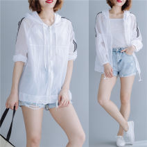 Women's large Summer of 2019 white Large average size [100-200kg] singleton  commute easy thin Cardigan Long sleeves literature Hood routine Other / other 25-29 years old
