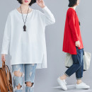 Women's large Spring 2020 White, red T-shirt singleton  commute easy moderate Socket Long sleeves Solid color literature Crew neck Medium length Other / other