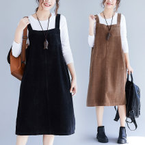 Women's large Winter of 2019 Brown, black XL [recommended 100-150 kg], XXL [recommended 150-200 kg] Dress singleton  commute easy thick Socket literature Medium length cotton Other / other Medium length