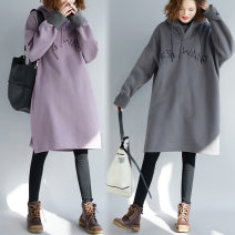 Women's large Winter 2019, spring 2019, autumn 2019 violet One size fits all [110-220 kg recommended] Sweater / sweater singleton  commute easy thickening Socket Long sleeves literature Hood Medium length Other / other 71% (inclusive) - 80% (inclusive)